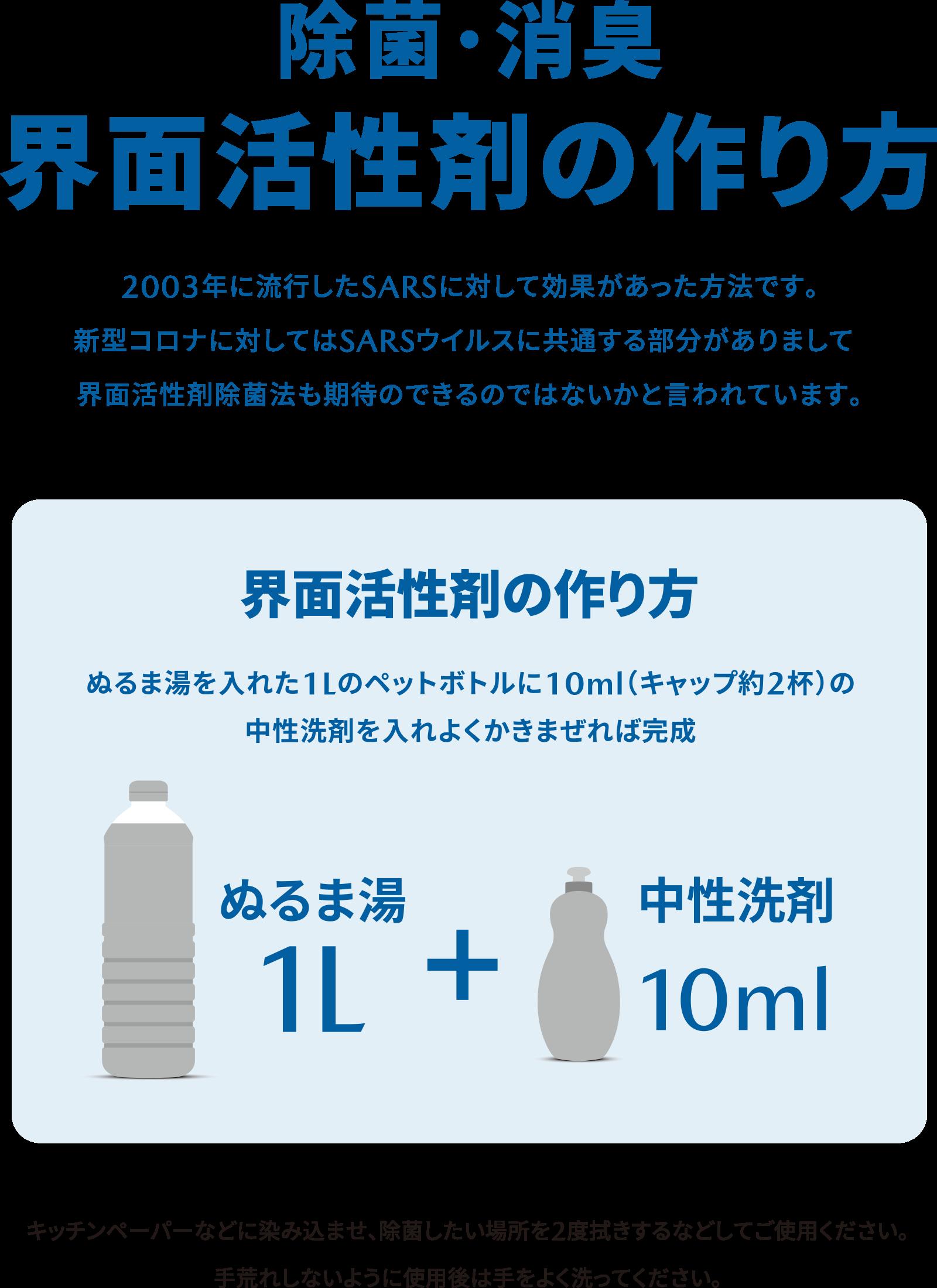 作り方 消毒 性 液 中 洗剤 界面活性剤入り洗剤を使ったコロナに有効な消毒液の作り方は?商品の種類や使い方、効果をご紹介